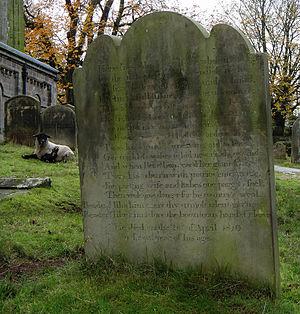 John Metcalf (civil engineer) - Headstone at All Saints Church, Spofforth.