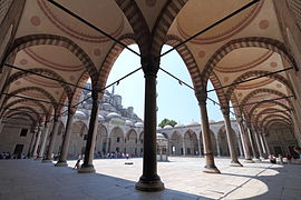 Blue Mosque Courtyard Arcades Wikimedia Commons