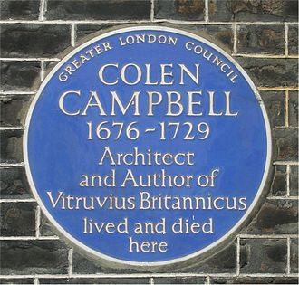 Colen Campbell - Blue plaque on 76 Brook Street, London W1