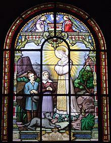 Apparition de la Très Sainte Vierge de la Salette 220px-Bois-Colombes_Vitrail_La_Salette