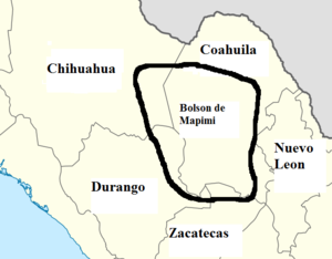 Bolsón de Mapimí - A map showing the location of the Bolson de Mapimi in northern Mexico