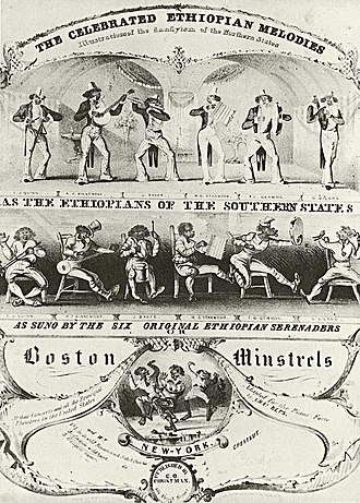 "Ethiopian Serenaders - Sheet music cover featuring the Ethiopian Serenaders (here billed as ""The Boston Minstrels""), New York, 1843."