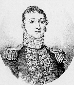 Action of 7 February 1813 - Captain Pierre Bouvet, who commanded the French squadron, his flag on Aréthuse.