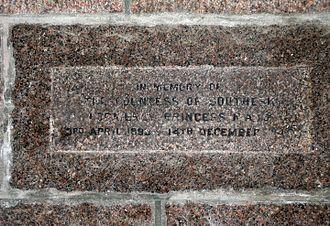 Princess Maud, Countess of Southesk - St Ninian's Chapel, Braemar - inscription commemorating Princess Maud, Countess of Southesk (1893–1945)