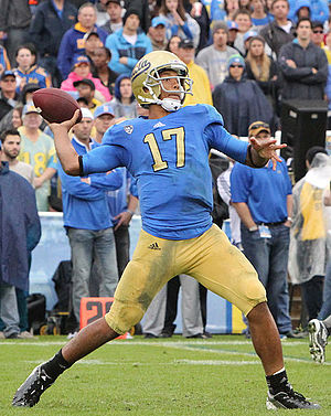 UCLA Bruins football statistical leaders - Brett Hundley holds the UCLA record for passing touchdowns and is second on the passing yards list.