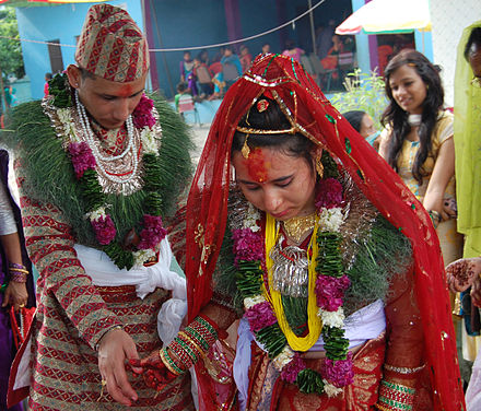 A Nepali Hindu couple in marriage ceremony. Bride Groom NP.JPG