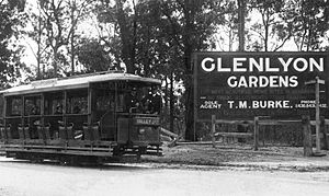 Ashgrove, Queensland - Tramdrivers and passengers in a Valley Junction tram at Ashgrove in 1923, on the corner of the Glenlyon Gardens housing estate.