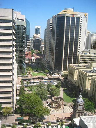 ANZAC Square, Brisbane - ANZAC Square, the Shrine of Remembrance and the Brisbane CBD