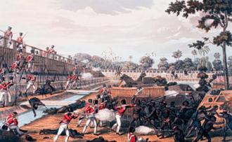 First Anglo-Burmese War - The storming of one of the principal stockades, near Yangon (Rangoon), 8 July 1824