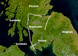 """Galwegian Gaelic - Possible language zones in southern Scotland, 7th–8th centuries (after Nicolaisen, Scottish Place-Names and Taylor, """"Place Names"""")."""