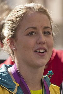 Brittany Broben being interviewed by Fox Sports News reporter Adam Curley at the Welcome Home parade in Sydney (1) (cropped).jpg