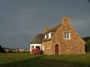 Crow-stepped gable - A typical Breton house in with a stepped gable and sloping coping stones