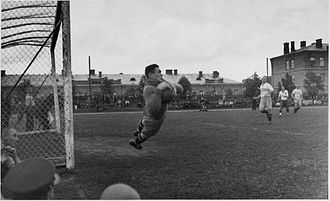 1935 LFF Lyga - Goalkeeper of Kaunas Military School football (soccer) team, cadet Bronius Jankauskas in action. Training match: Kaunas City football team - Kaunas Military School 3:3 (1:1). Kaunas Military School stadium, 8th of May, 1935.