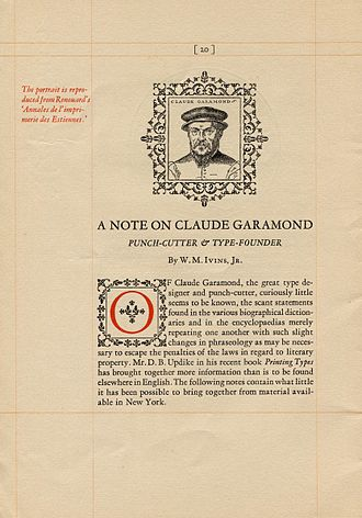 Garamond - Sample of Monotype Garamont by Goudy, showcased in its magazine in 1923.