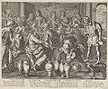 Bruiloft te Kana Solatium piorum conjugum Christus (titel op object) Royaalbijbel (serietitel), RP-P-1908-3810.jpg