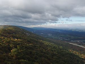 Brush Mountain (Blair County, Pennsylvania) - The higher southwest section of Brush Mountain looking southwest toward Altoona. Interstate 99 is lower right. The Allegheny Front is center right, with Blue Knob in the center.