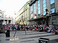 Bucuresti, Romania. Teatrul ODEON. (B-II-m-B-19854) B-FIT IN THE STREET 2018. Bubble Street Cirkus. Echilibristul si jongleorul Juriy Longhi.jpg
