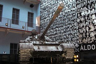 House of Terror - T-54 tank, with photos of the victims of the Hungarian Communism