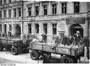 Bombing of Berlin in World War II - A work party clears rubble from an air-raid on Berlin, 13 October 1940