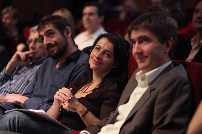 Robert Lion, Augustin Legrand, Cécile Duflot et Stéphane Gatignon au forum Europe Écologie Île-de-France, le 14 novembre 2009.