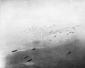 Western Allied invasion of Germany - Douglas C-47 transport aircraft drop hundreds of paratroopers on 24 March as part of Operation Varsity.