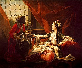 Turquerie - Madame de Pompadour portrayed as a Turkish lady in 1747 by Charles André van Loo