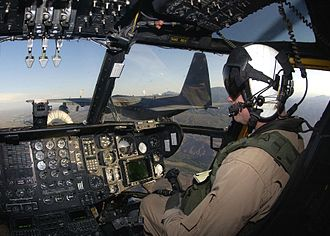 Sikorsky CH-53E Super Stallion - View of the CH-53E's cockpit during an in-flight refueling operation with an Air Force HC-130 Hercules