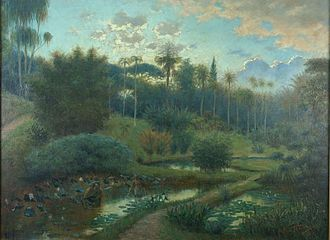 Bogor Botanical Gardens - An oil painting depicting life on Buitenzorg Plantentuin in 1899.