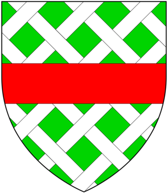 Richard Cabell - Arms of Cabell: Vert fretty argent, over all a fess gules