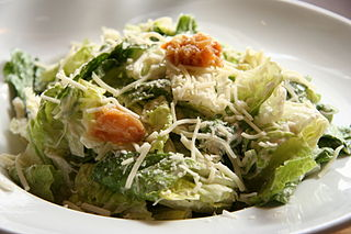 Caesar salad Green salad of romaine lettuce and croutons