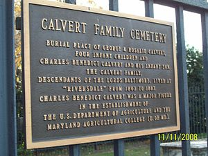Riverdale Park, Maryland - Calvert Cemetery plaque in Riverdale, Maryland, one of the founders of what is now the University of Maryland, College Park. Nov 2008
