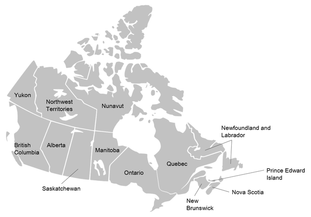 Canadian provinces By Amiami3 [CC BY-SA 3.0  (https://creativecommons.org/licenses/by-sa/3.0)], from Wikimedia Commons