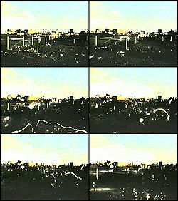 Film stills from the Cannikin test show the effects on the surface of the 5 megaton detonation below, equivalent to a 7.0 earthquake.