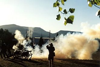 Cannon operation - Cannon in a Civil War re-enactment: Large amounts of gunpowder often affected visibility, and gunners hoped for a strong wind.