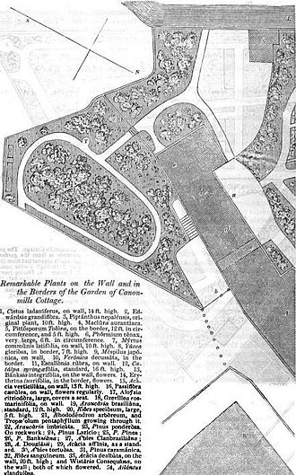Patrick Neill (naturalist) - Plan of Canonmills Cottage Garden, near Edinburgh, from Gardener's Magazine, July 1836.