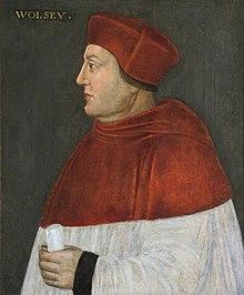 Portrait de profil d'un homme obèse portant une tunique ecclésiastique rouge