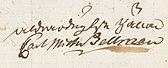 Carl Michael Bellmans underskrift.