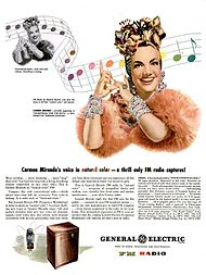 1945 magazine ad for an FM radio with pictures of Miranda