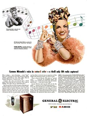 General Electric - Carmen Miranda in a 1945 advertisement for a General Electric FM radio in The Saturday Evening Post