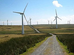 Carno Wind Farm above Trannon Farm - geograph....