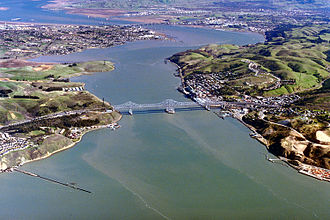 Carquinez Bridge - Aerial view of Carquinez Strait and bridges, prior to construction of the new suspension bridge