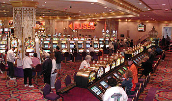 Slot machines are commonplace in casinos.