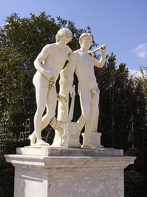 Castor and Pollux (Prado) - The marble version sculpted by Antoine Coysevox, 1687–1706, for the parterre de Latone of Versailles