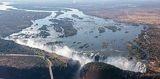 Victoria Falls Waterfall on the Zambezi River in Zambia and Zimbabwe