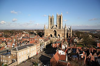 Lincoln, England - Cathedral and Castle Square from the castle observation tower