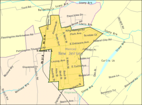 Census Bureau map of Pennington, New Jersey.png