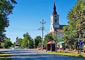 Kumane - Main street and the Orthodox Church