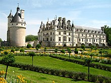 Château de Chenonceau in the Loire valley, the castle that spans the river with a round keep, and garden