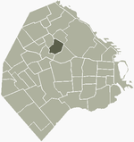 Location of Chacarita within Buenos Aires