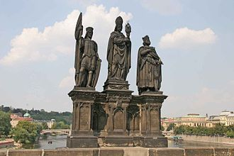 Norbert of Xanten - Statues of Saints Norbert, Wenceslaus and Sigismund on the Charles Bridge in Prague. The statue of Saint Norbert is in the middle); on the left is Saint Wenceslas, while on the right is Saint Sigismund.